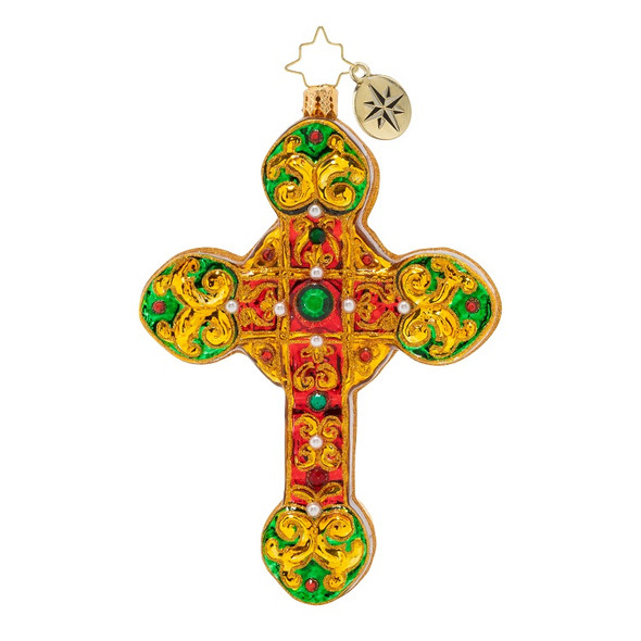 Ornament, Christopher Radko, Cherished Cross Christmas Ornament