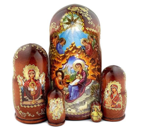 Icon Nesting Dolls, 5pc Nativity Scene, 7-inch