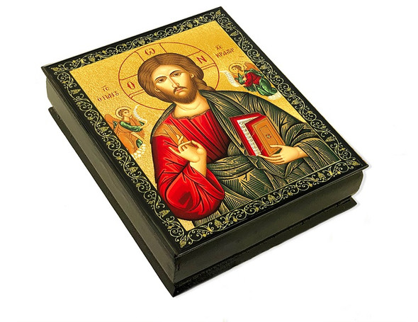 Wooden Icon Box, Christ Blessing, large
