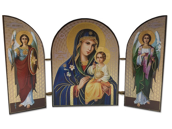 Triptych: Theotokos with Christ Child and archangels, small