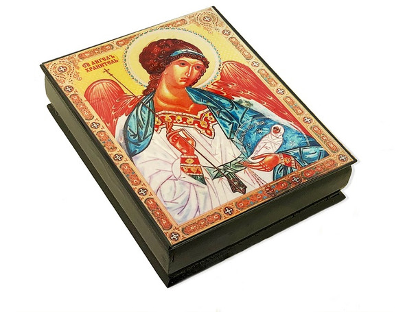 Wooden Icon Box, Guardian Angel, large