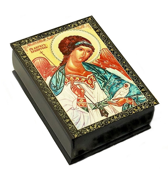 Wooden Icon Box, Guardian Angel, small