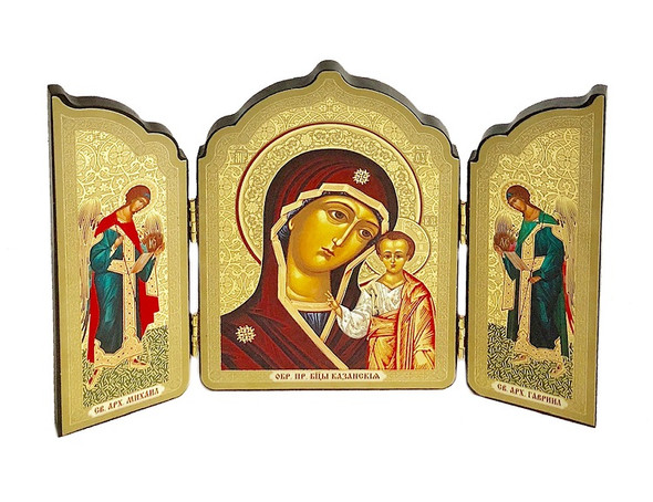 Triptych: Virgin of Kazan with Archangels Michael and Gabriel, medium icons