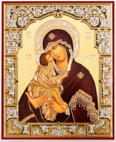 Virgin of Don (gold and silver foil), small icon