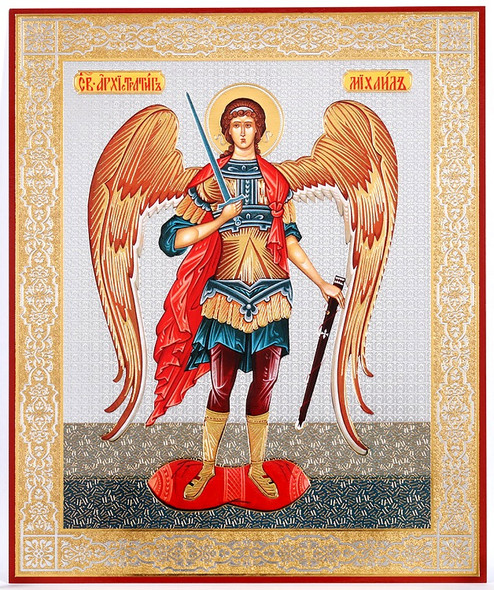 St Archangel Michael (gold and silver foil), medium icon