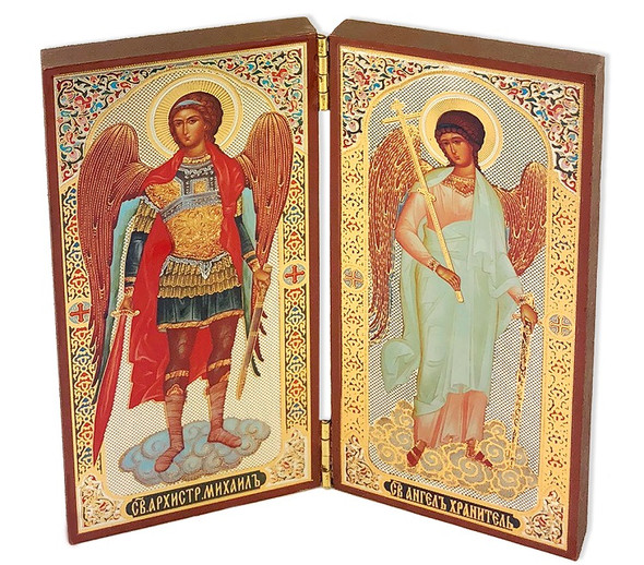 Diptych: St Michael and Guardian Angel (gold foil)