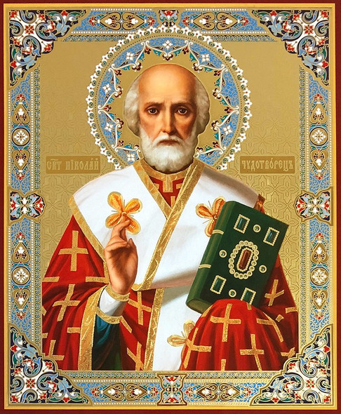 St Nicholas (gold and silver foil), medium icon