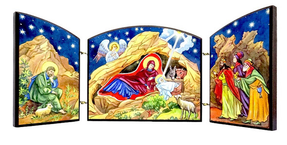 Triptych: Nativity with Troparion