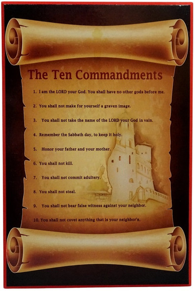Ten Commandments Plaque, large