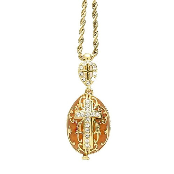 """Egg Pendant, Fabergé style with cross and MOG and angels inside, goldtone, 18"""" chain included"""