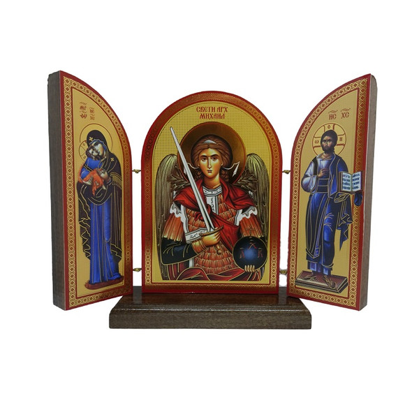 Triptych: Archangel Michael with Theotokos and Christ, solid walnut on stand