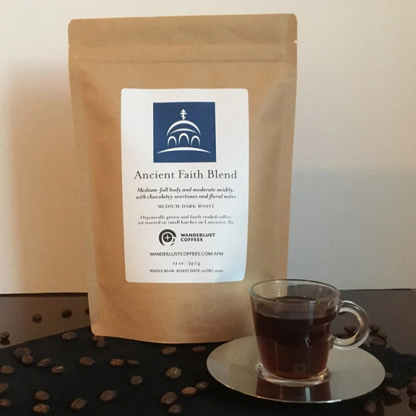 Ancient Faith Blend Coffee 12 oz. bag (medium grind). Medium-full body and moderate acidity, with chocolatey overtones and floral notes.