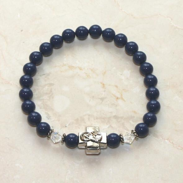 Prayer Bracelet with Swarovski Crystal pearls, silver-tone cross