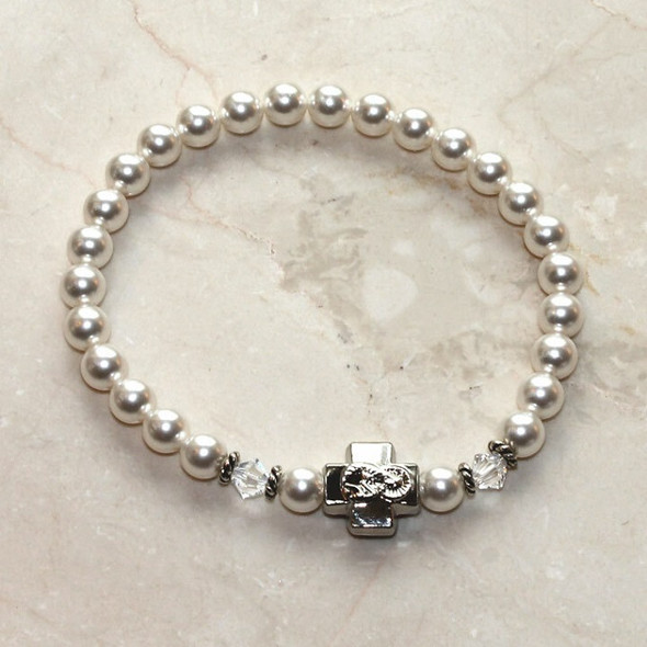 Prayer Bracelet with SnowWhite Swarovski pearls, silver-tone cross