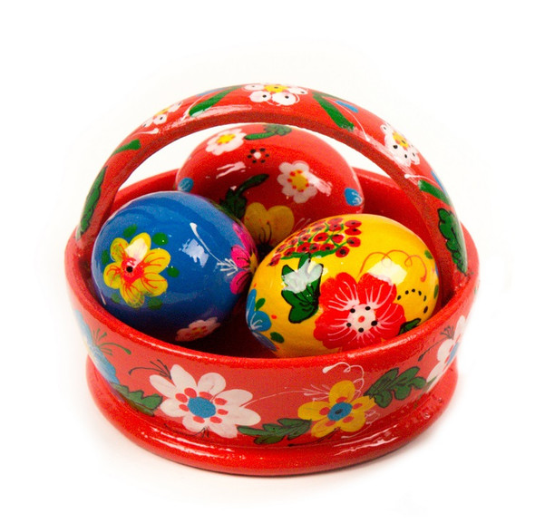 Basket with three wooden eggs, floral Easter design