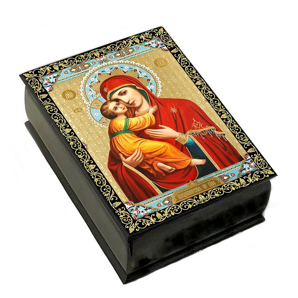 Wooden Icon Box, Virgin of Vladimir, small