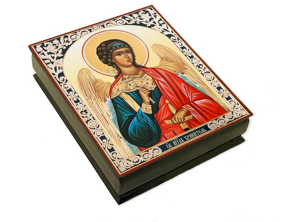 Wooden Icon Box, Guardian Angel in red robe, large