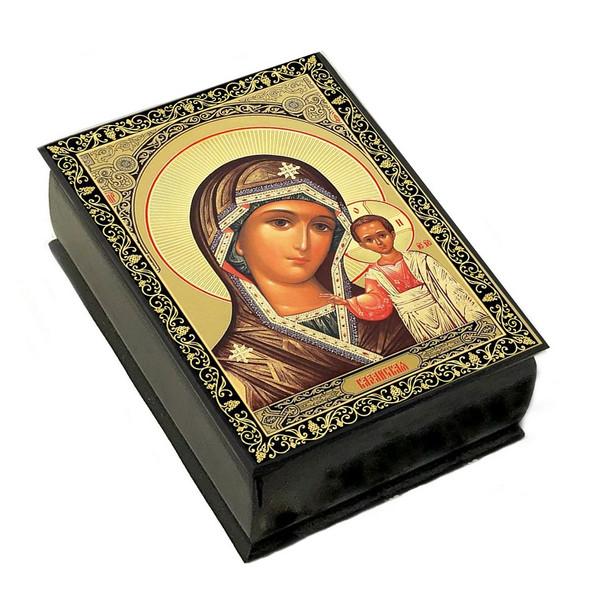Wooden Icon Box, Virgin of Kazan, small