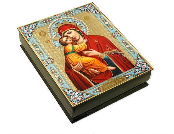 Wooden Icon Box, Virgin of Vladimir, large