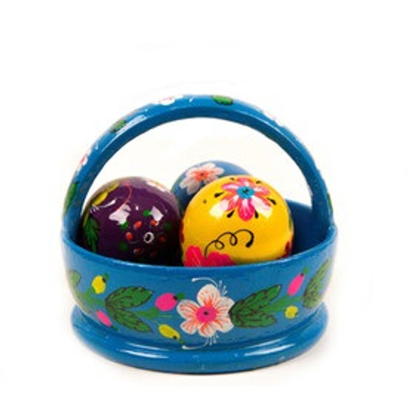 Basket with three wooden eggs, floral Easter design, blue