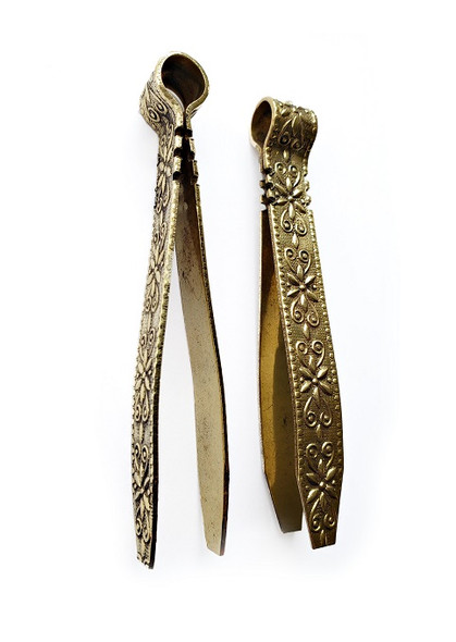 """Tongs, 4.5"""" brasstone with floral design for charcoal and incense censer"""