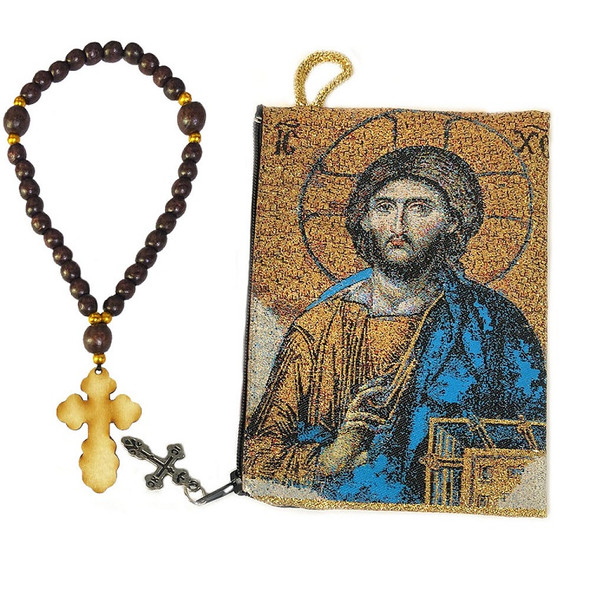 Tapestry pouch, icon of Christ Pantocrator with prayer beads and budded cross