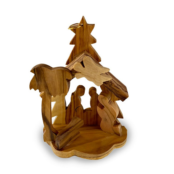Ornament, olive wood, Nativity scene with angel. Free-standing or hanging.