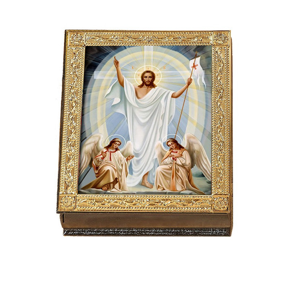 Wooden Icon Box, Resurrection with Angels, large