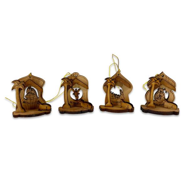 Ornaments, Olive Wood Nativity, set of 4