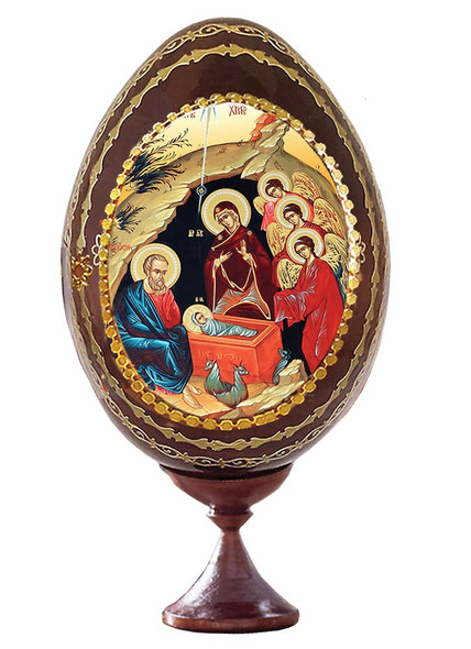 Wood egg on stand with icon of the Nativity
