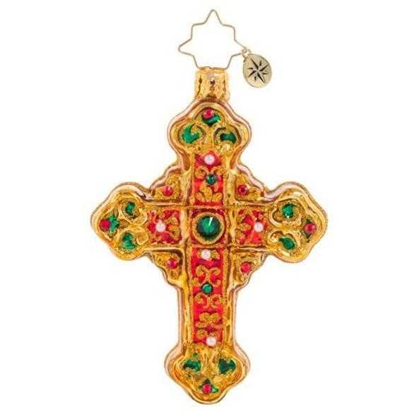 Ornament, Christopher Radko, Cherished Cross Gem