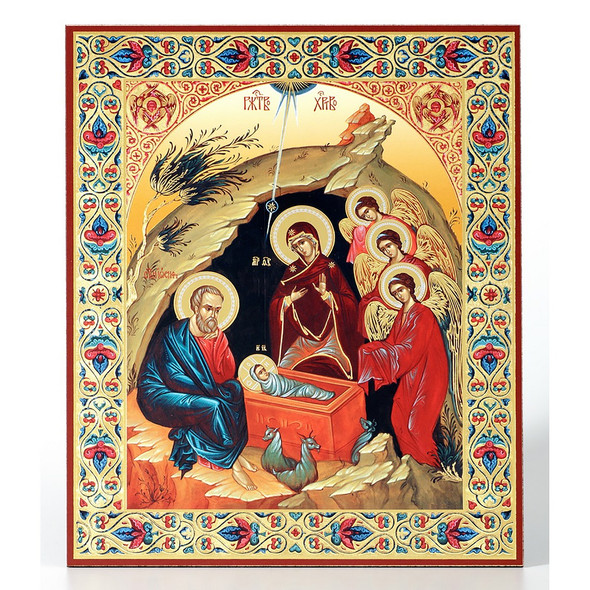 Nativity with ornate border (gold and silver foil), medium icon