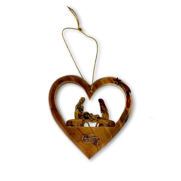 Ornament, Olive wood heart with nativity scene