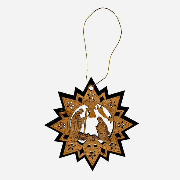 Ornament, Olive wood star with Nativity scene