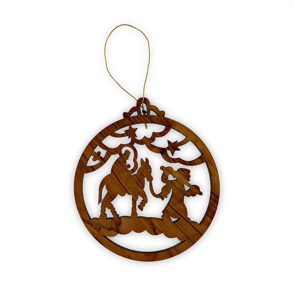 Ornament, Olive wood round with Flight to Egypt