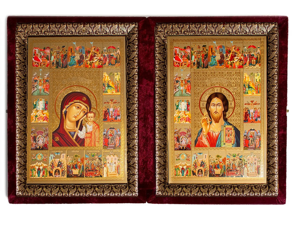 Diptych: Virgin of Kazan and Christ the Teacher with surrounding scenes, extra-large icons