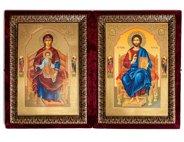 Diptych: Theotokos and Christ Enthroned, extra-large icons