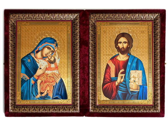 Diptych: Sweet Kissing and Christ Blessing, extra-large icons