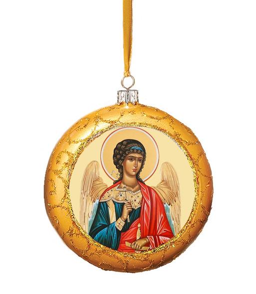 Christmas Ornament, Guardian Angel on gold, Ukrainian