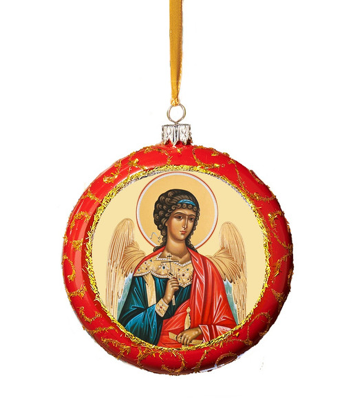 Ornament, Guardian Angel on red with gold accents, Ukrainian