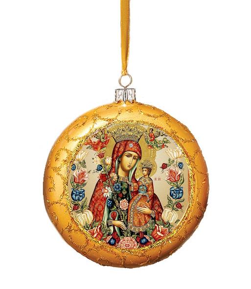 Christmas Ornament, Unfading Bloom on gold, Ukrainian