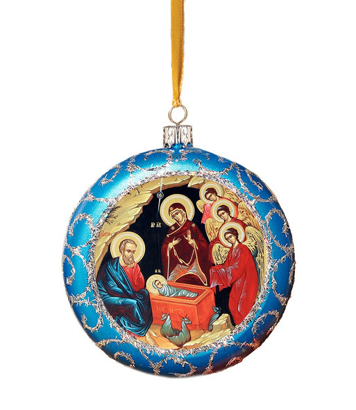 Ornament, Blessed Nativity on blue with silver accents, Ukrainian