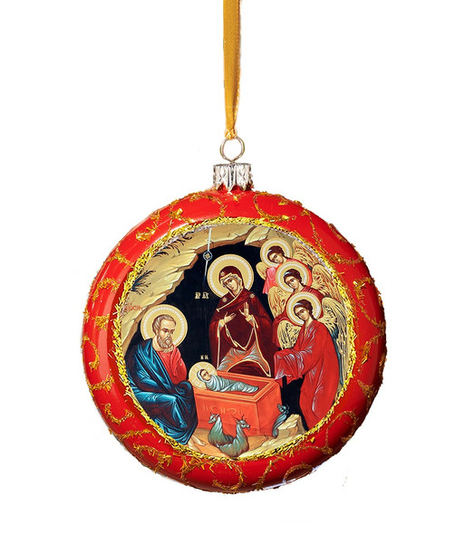 Ornament, Blessed Nativity on red with gold accents, Ukrainian
