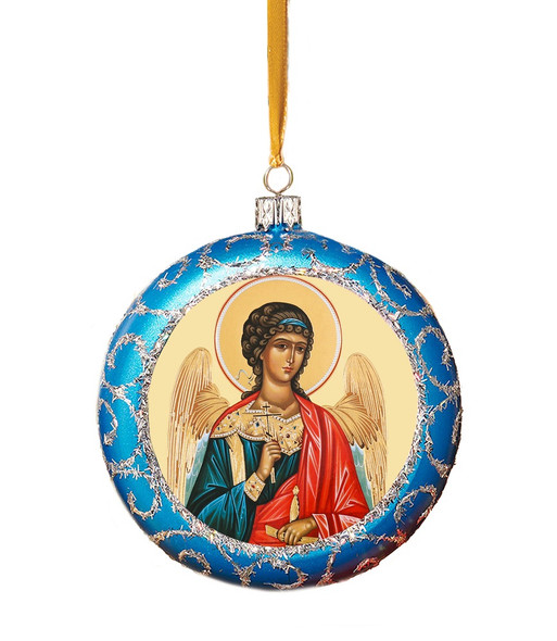 Ornament, Guardian Angel on blue with silver accents, Ukrainian