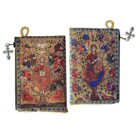 Tapestry pouch, Christ Tree of Life Vine with Apostles