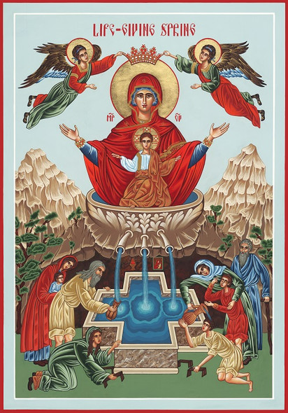 The Lifegiving Spring, large icon. Mother of God and Jesus.