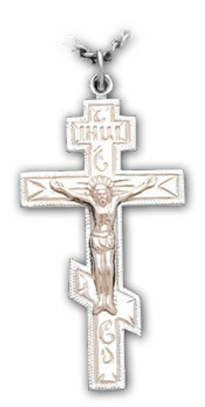 Three-bar Cross with corpus, sterling silver, large, chain included