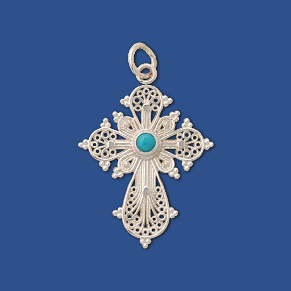 Filigree Cross, sterling silver with turquoise inset