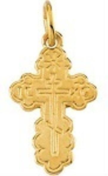 St. Olga Cross, 14k yellow gold, tiny charm size