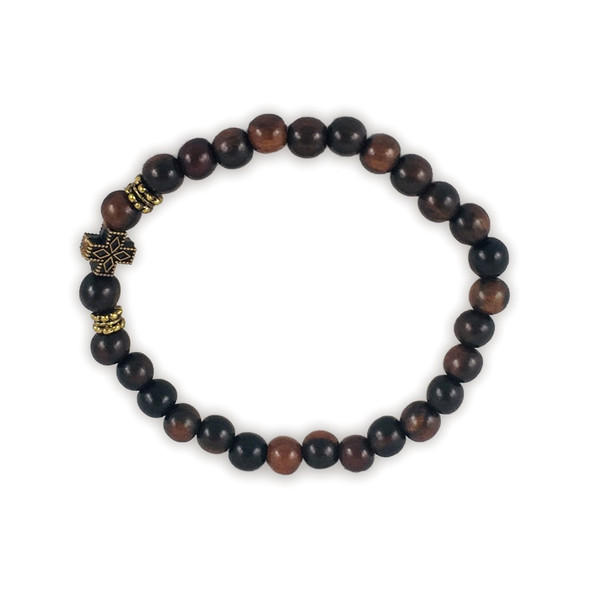 Prayer Bracelet, with tiger ebony beads (wood) and antiqued metal cross. Handcrafted.